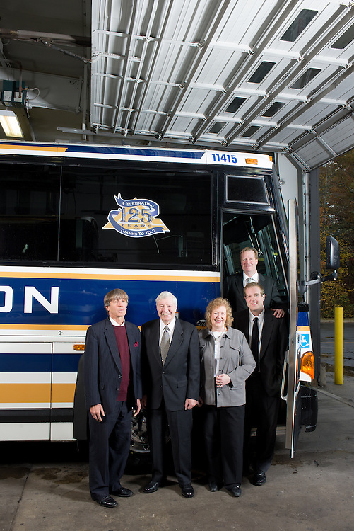 The Anzuoni family, owners of the Plymouth & Brockton Street Railway Co. with one of the buses in their fleet in Plymouth, MA for Family Business Magazine.