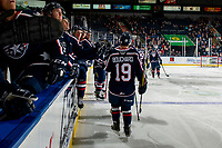 KELOWNA, BC - FEBRUARY 12: Connor Bouchard #19 of the Tri-City Americans celebrates a third period goal against the Kelowna Rockets at Prospera Place on February 8, 2020 in Kelowna, Canada. (Photo by Marissa Baecker/Shoot the Breeze)