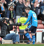Ross McCormack of Leeds United shows his delight at scoring against Barnsley during the Sky Bet Championship match at Oakwell, Barnsley<br /> Picture by Graham Crowther/Focus Images Ltd +44 7763 140036<br /> 19/04/2014