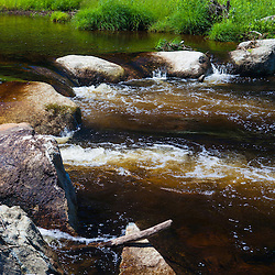 Restored stream bed in Cold Stream in Maine's Northern Forest. West Forks.