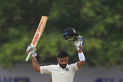July 29, 2017 - Galle, Sri Lanka - Indian cricket captain Virat Kohli celebrates after scoring 100 runs during the 4th Day's play in the 1st Test match between Sri Lanka and India at the Galle cricket stadium, Galle, Sri Lanka on Saturday 29 July 2017. (Credit Image: © Tharaka Basnayaka/NurPhoto via ZUMA Press)