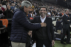 February 28, 2019 - Valencia, Spain - Head coach   of Real Betis Balompie Quique Setien (L) and Head coach of Valencia CF Marcelino Garcia Toral.before Spanish King La Copa match between  Valencia cf vs Real Betis Balompie Second leg  at Mestalla Stadium on February 28, 2019. (Photo by Jose Miguel Fernandez/NurPhoto) (Credit Image: © Jose Miguel Fernandez/NurPhoto via ZUMA Press)