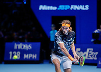 Tennis - 2019 Nitto ATP Finals at The O2 - Day Seven<br /> <br /> Semi Finals: Stefanos Tsitsipas (Greece) Vs. Roger Federer (Switzerland) <br /> <br /> Stefanos Tsitsipas (Greece) prepares to strike the backhand <br /> <br /> COLORSPORT/DANIEL BEARHAM<br /> <br /> COLORSPORT/DANIEL BEARHAM