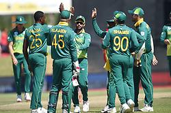 Cape Town-181006-South African fast bowler Kagiso Rabada bowls out Zimbabwean batsman Hamilton Masakadza  in the 3rd ODI match at Boland Park cricket stadium. .Photographer:Phando Jikelo/African News Agency(ANA)