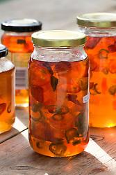 Chilli jelly stored in jars