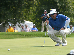 August 12, 2018 - St. Louis, Missouri, U.S. - ST. LOUIS, MO - AUGUST 12: Ben Kern lines up his putt on the #1 green during the final round of the PGA Championship on August 12, 2018, at Bellerive Country Club, St. Louis, MO.  (Photo by Keith Gillett/Icon Sportswire) (Credit Image: © Keith Gillett/Icon SMI via ZUMA Press)