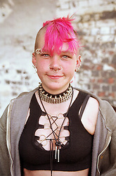 Portrait of homeless teenage girl,