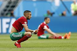 (l-r) Hakim Ziyach of Morocco, Sofyan Amrabat of Morocco