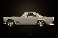 The design of this Maserati 3500 GT from 1960 is so sophisticated that you can only be impressed by this painting. Do you like the Italian lifestyle and you want to show that in your interior then this painting of the Maserati 3500 GT from 1960 your thing.<br />