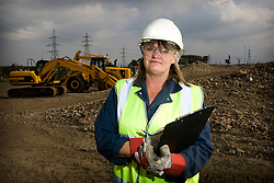 Staff portrait. Olympic Park instructor Claire Pritchard, working in the construction college. Model Released. Picture taken on 25 Sep 2008 by David Poultney.
