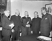 12/06/1957.06/12/1957.12 June 1957. (left-right) R.S. Morris (secretary) Methodist Church, Rev. L.O. Brookes,  delegate of British Conference at the Methodist Church Conference, Rev. Dr. A. Crawford  D.D. President of Methodist Church Conference, Rev. Samuel McCaffrey, outgoing President of Methodist Church in Ireland and Rev. E. Hardy at Methodist Church Conference at St Stephens Green, Dublin.