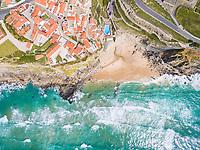Aerial view above Azenhas do Mar Village