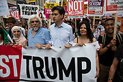 Ed Miliband joins tens of thousands of protesters gather to march and demonstrate at the Together Against Trump national demonstration on 13th July 2018 in London, United Kingdom. Organisations The Stop Trump Coalition and Stand Up to Trump have come together for a one-off national demonstration to protest against President Trump's policies and politics during his official UK visit.