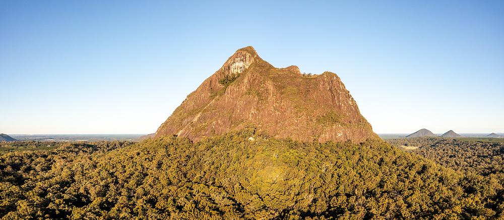 Panoramic aerial view of Mt Beerwah, Glass House Mountains, Sunshine Coast Hinterland, Queensland, Australia