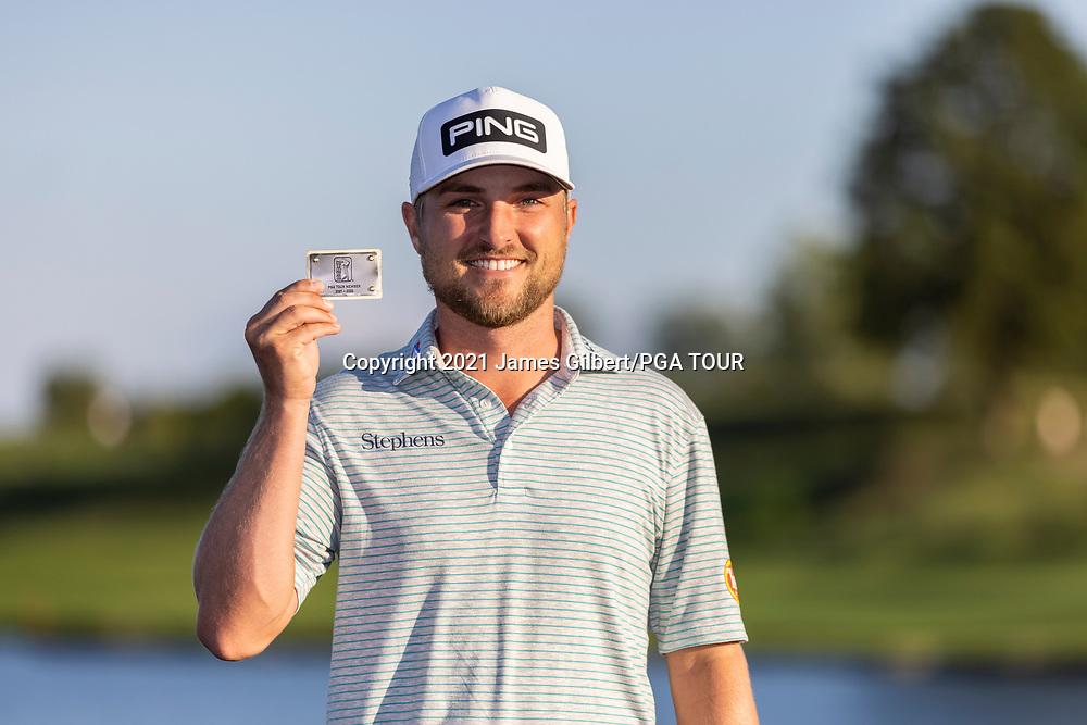 NEWBURGH, IN - SEPTEMBER 05: Austin Cook poses with his PGA TOUR card after the Korn Ferry Tour Championship presented by United Leasing and Financing at Victoria National Golf Club on September 5, 2021 in Newburgh, Indiana. (Photo by James Gilbert/PGA TOUR via Getty Images)