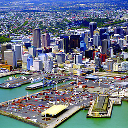 Aerial of Downtown Auckland, New Zealand