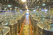 The gigantic vat hall with stainless steel fermentation tanks Bodega Del Fin Del Mundo - The End of the World - Neuquen, Patagonia, Argentina, South America