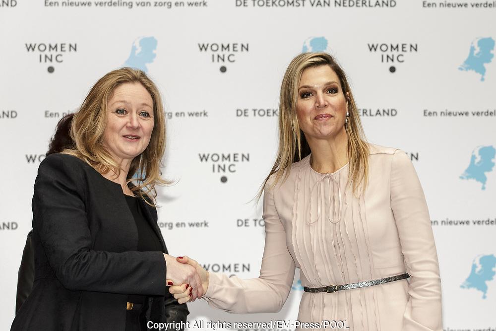 Hare Majesteit Koningin Maxima is aanwezig bij een bijeenkomst van WOMEN Inc. in DeFabrique in Utrecht.