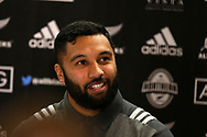 Lima Sopoaga, the New Zealand Allblacks rugby player speaks to the media during the New Zealand rugby team announcement press conference at the Hilton Hotel in Cardiff , South Wales on Thursday 23rd November 2017.  the team are preparing for their Autumn International series test match against Wales in Cardiff this weekend.   pic by Andrew Orchard