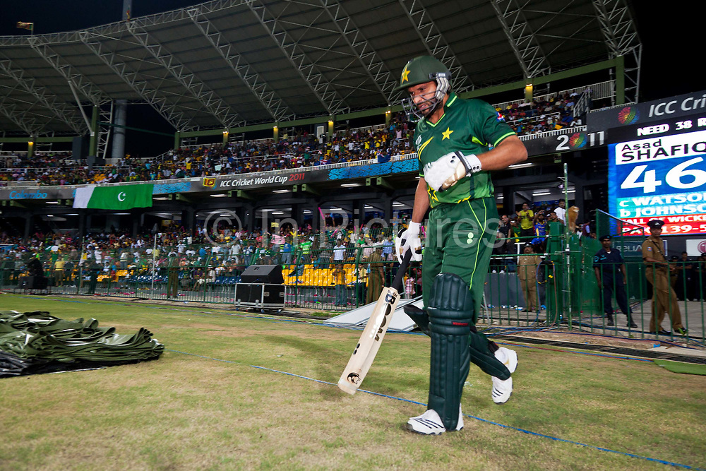 Pakistan Captain Shahid Afridi enters Premadasa stadium during the group stage match  against Australia in the ICC World Cricket Cup,  Colombo, Sri Lanka