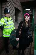 The Stansted 15 are sentenced at Chelmsford Crown court, 6th of February 2019, Chelmsford, United Kingdom. May MacKeith, one of the Stansted 15 with her bag, ready for court. The defendants and supporters gather outside the court. The group of fifteen activists stopped a Home Office deportation charter flight in Stansted in 2017. The activists were charged under the terrorism law and 12 were sentenced community service and 3 were sentenced suspended 9 months prison sentences.