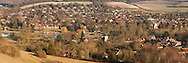 Goring and Streatley on Thames from hillside at Lardon Chase, Oxfordshire, Uk