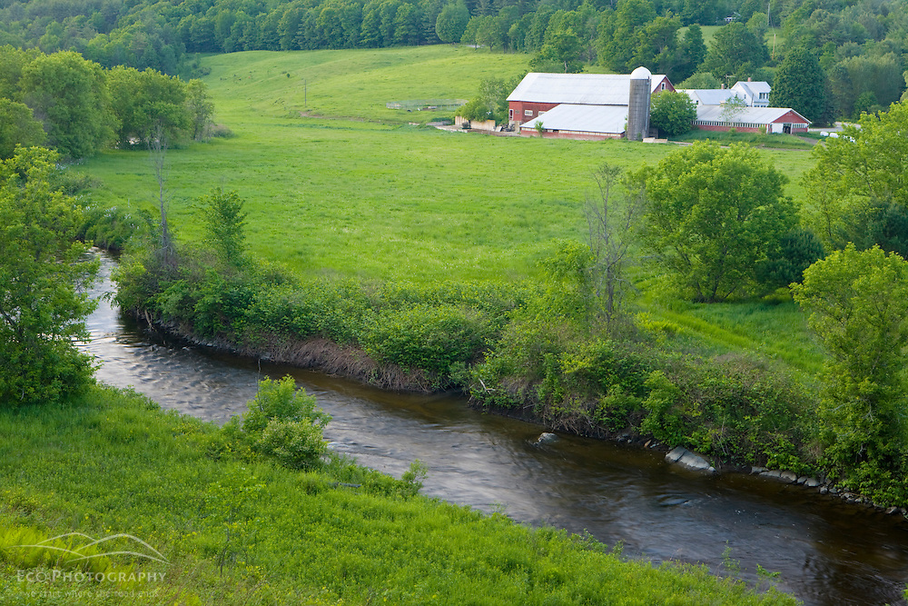A farm on the Wells River in Wells River, Vermont.  Connecticut River Valley.