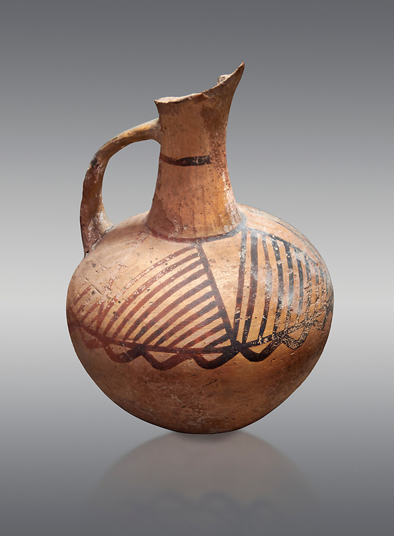 Cycladic ceramic jug with painted linear decoration. Cycladic II (2800-2300 BC) , Chalandriani, Syros. National Archaeological Museum Athens. Cat no 4969.   Grey background. .<br /> <br /> If you prefer to buy from our ALAMY PHOTO LIBRARY  Collection visit : https://www.alamy.com/portfolio/paul-williams-funkystock/cycladic-art-artefacts.html Type into the LOWER SEARCH WITHIN GALLERY box to refine search by adding background colour, place, museum etc<br /> <br /> Visit our CYCLADIC CIVILISATIONS PHOTO COLLECTIONS for more photos to download or buy as wall art prints https://funkystock.photoshelter.com/gallery-collection/Cycladic-civilisation-Ancient-Greek-Artefacts-art-Photos-Pictures-Images/C0000CmevVvnC.XU