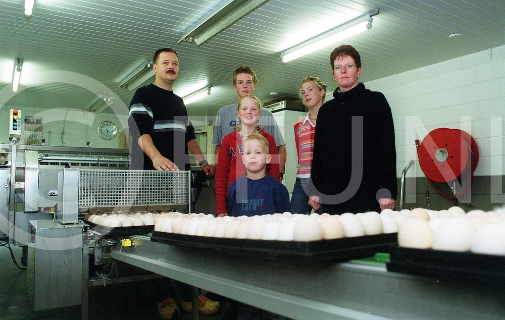 fotografie frank uijlenbroek©2001 frank uijlenbroek.010921 bruchterveld ned.Familie van der Riet in de eierverzamelruimte.pluimveehouderij.bonnummer 120179