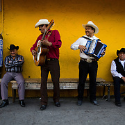 Mariachis gather along Cesar Chavez Boulevard in East Los Angeles to play their music in hopes of being hired by a restaurant. Please contact Todd Bigelow directly with your licensing requests.