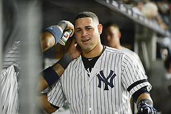 October 18, 2017 - Bronx, NY, USA - The New York Yankees' Gary Sanchez celebrates his solo home run in the seventh inning against the Houston Astros during Game 5 of the American League Championship Series at Yankee Stadium in New York on Wednesday, Oct. 18, 2017. The Yankees won, 5-0, for a 3-2 series lead. (Credit Image: © Howard Simmons/TNS via ZUMA Wire)