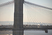 people walking towards work during subway strike New York City December 2005 crossing the Brooklyn Bridge