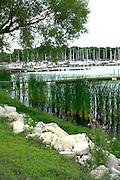 Boat docks and lake shore.  White Bear Lake Minnesota USA
