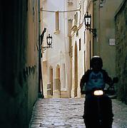 A street scene in Ostuni, Puglia, Italy