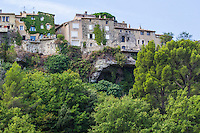 Venasque - Three hilltop villages in Provence cling to the rocks - though they were crumbling at the beginning of the century and many of these semi abandoned villages have revived in the past few decades.  Protected since ancient times thanks to its virtually impregnable location Venasque is considered one of the most unusual villages in the Vaucluse - it follows strict guidelines for renovations that require that exterior modifications to homes are rebuilt as they were in the past at least as far as the exterior.
