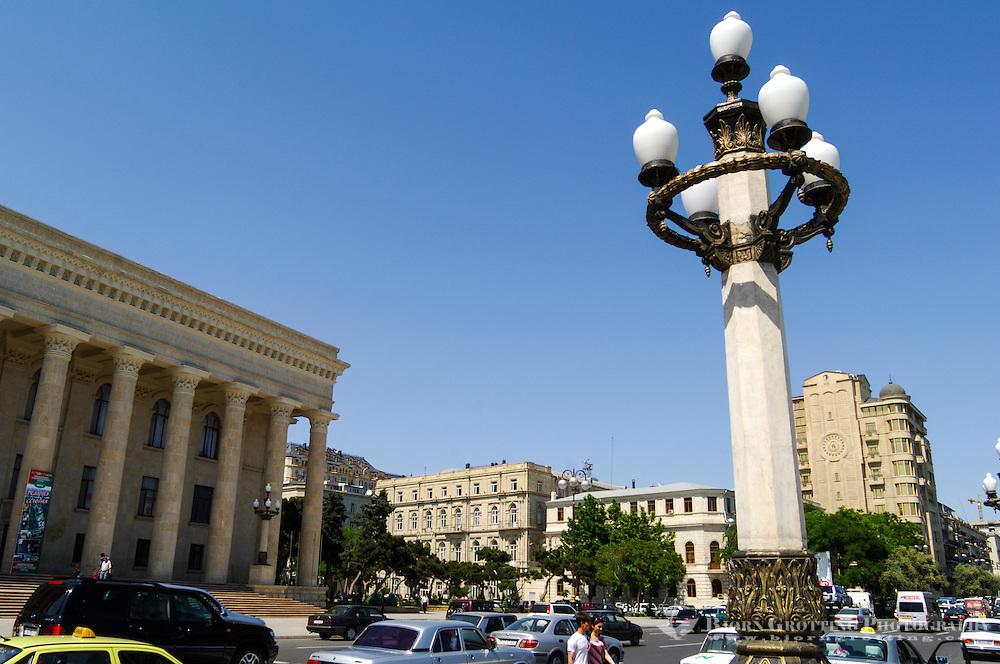 Azerbaijan, Baku. Azerbaijan State Carpet Museum to the left has the largest collection of Azerbaijani carpets in the world.