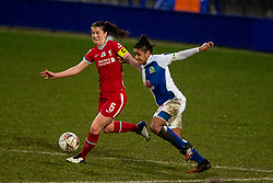 BIRKENHEAD, ENGLAND - Sunday, March 28, 2021: Liverpool's captain Niamh Fahey (L) and Blackburn Rovers' captain Saffron Jordan during the FA Women's Championship game between Liverpool FC Women and Blackburn Rovers Ladies FC at Prenton Park. The game ended in a 1-1 draw. (Pic by David Rawcliffe/Propaganda)