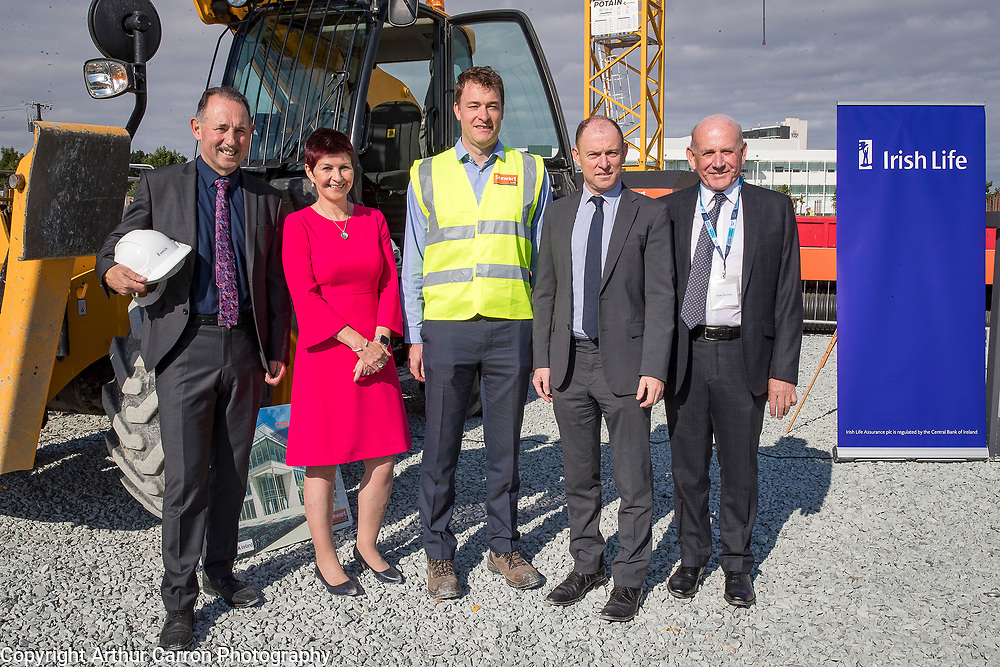 NO FEE PICTURES<br />13/7/18 Irish Life has formally broken ground on its new Customer Centre in Dundalk, Co Louth. The building has been designed by leading Dublin based architects, wejchert Architects and is being delivered by main contractor Stewart Construction. The new site area is 1.6 hectares with an office size of 45,000 sq ft. It is expected that over 200 construction workers will be on site during the construction phase of the project, which will be a significant boost to local employment in the Dundalk Area. Pictured are : Se Weston, Excutive Manager, Paul Stewart, MD Stewart Construction, Aine Cassidy, Excutive Manager, Dundalk Office, David Harney, CEO Irish Life and Sean Rooney, Developer. Picture :Arthur Carron