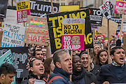 A march against racism and to ban the ban (against immigration from certain countries to the USA) is organised by Stand Up To Racism and supported by Stop the War and several unions. It stated with a rally at the US Embassy in grosvenor Square and ended up in Whitehall outside Downing Street. Thousands of people of all races and ages attended. London 04 Feb 2017.