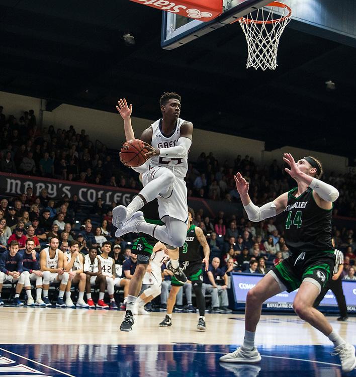 Nov 11 2018  Moraga CA, U.S.A. St. Mary's forward Malik Fitts (24) drives to the hoop during the NCAA Men's Basketball game between Utah Valley Wolverines and the Saint Mary's Gaels 92-63 win at McKeon Pavilion Moraga Calif. Thurman James / CSM