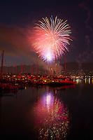 4th of July fireworks over harbor, Santa Barbara, California, USA, 2011