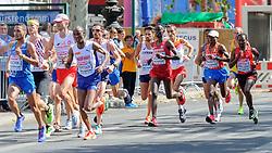 De kopgroep op de marathon met daar in Abdi N ageeye <br />bij het EK atletiek in Berlijn op 12-8-2018