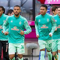 21.11.2020, Allianz Arena, Muenchen, GER,  FC Bayern Muenchen SV Werder Bremen <br /> <br /> <br />  im Bild Werder kommt auf den platz mit Tahith Chong (Werder Bremen #22) Jean-Manuel Mbom (SV Werder Bremen #34) Felix Agu (SV Werder Bremen #17) Kevin Moehwald (SV Werder Bremen #6) <br /> <br /> <br /> Foto © nordphoto / Straubmeier / Pool/ <br /> <br /> DFL regulations prohibit any use of photographs as image sequences and / or quasi-video.