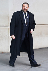 London, January 28 2018. Opera Tenor Joseph Calleja leaves the BBC's New Broadcasting House in London after appearing on the Andrew Marr Show. © Paul Davey