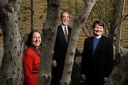 Rev. Scotty McLennan, Rabbi Patricia Karlin-Neumann (red outfit), Rev. Joanne Sanders outside Memorial Church.