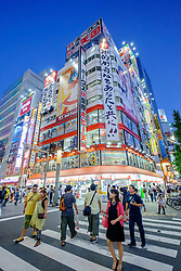 Billboards on shop fronts in Akihabara known as Electric Town or Geek Town selling Manga based games and videos in Tokyo Japan