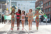 NO FEE PICTURES.Models from Principal Models  Jennifer Arayjo (left), Sandra Somorin, Sandra Huzuneanu, Adrianna Vieira and Vanessa Froto at a photocell for Carnival which is on the 10th of February 2013 in Dtwo on Harcourt Street, Dublin 2. Our mission is to bring the world's biggest and most famous party, the Brazilian Carnival, to Dublin