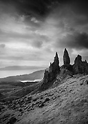The Old Man of Storr against a morning sky on the Isle of Skye, Scotland.