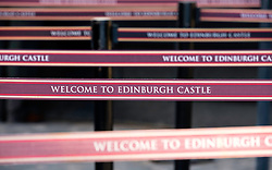 Detail of queue  separation barriers at ticket office in Edinburgh Castle, Scotland, United Kingdom. Crowding has become a problem at this very popular tourist attraction.