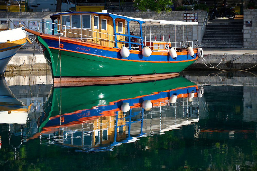 Traditional ferry  in Bol harbour, Bra? island, Croatia Fishing boats in Bol harbour, Brac island, Croatia .<br /> <br /> Visit our CROATIA HISTORIC SITES PHOTO COLLECTIONS for more photos to download or buy as wall art prints https://funkystock.photoshelter.com/gallery-collection/Pictures-Images-of-Croatia-Photos-of-Croatian-Historic-Landmark-Sites/C0000cY_V8uDo_ls